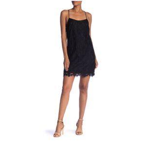 1.State Black Floral Lace Racerback Shift Dress